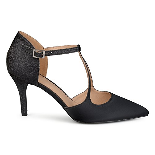 Heels Strap Glitter Pointed Leather Womens V Black Faux Toe Brinley Satin Co z6q7wvxXng
