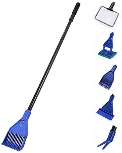UEETEK 水槽 掃除 コケ取り スクレーパー 網 スポンジ 砂利レーキ フォーク 5in1 多機能 水槽掃除用品 5点セット(青+黒)