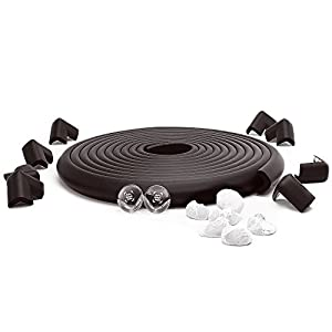 23.2ft Set -16 Corner Guard protectors. SafeBaby & Child Safety baby proof edge with clear protective bumpers for furniture. Cushion foam strip brick pad childproof fireplace guard for toddlers.Black