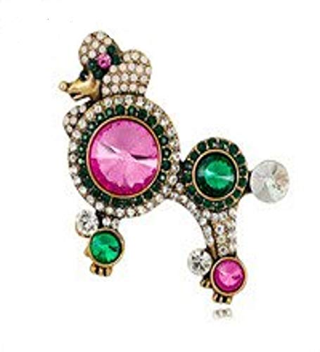 Vintage Addiction Pink & Green Swarovksi Crystal Elements Poodle Brooch