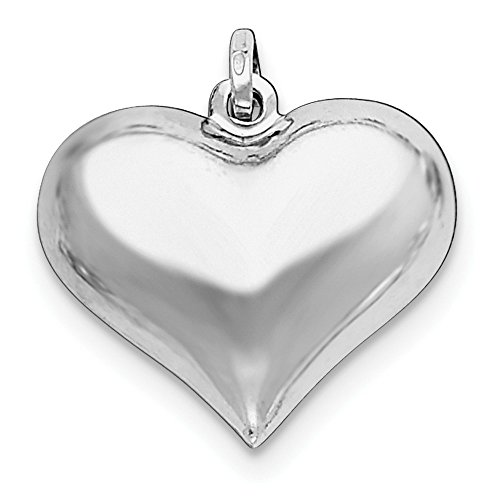 (Sterling Silver Rhodium-Plated Puffed Heart Pendant (22 mm x 24 mm))