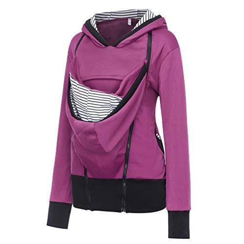 (Women's Maternity Breastfeeding Kangaroo Hoodie Jacket for Baby Carrier Wrap Top Wearing Care Shirts Coat Hot Pink)