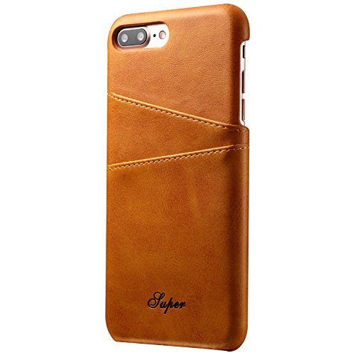 Khaki iPhone 8 Plus Case Slim Leather iPhone Wallet Case Back Case Cover With Credit Card Slots for Apple iPhone 8 Plus (For Men Platinum)