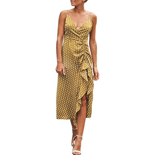 - Sinfu Women's Polka Dot Print V-Neck High Waist Sling Dress Drawstring Pleated Ruffled Hem Long Maxi Dress Sundress (L, Yellow)