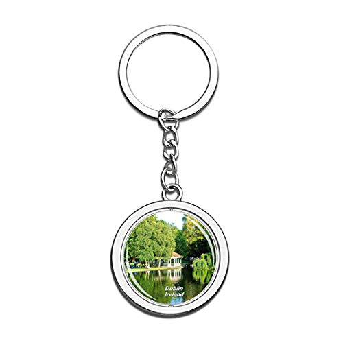 Irelang Keychain St Stephens Green Dublin Key Chain 3D Crystal Spinning Round Stainless Steel Keychains Travel City Souvenirs Key Chain Ring -