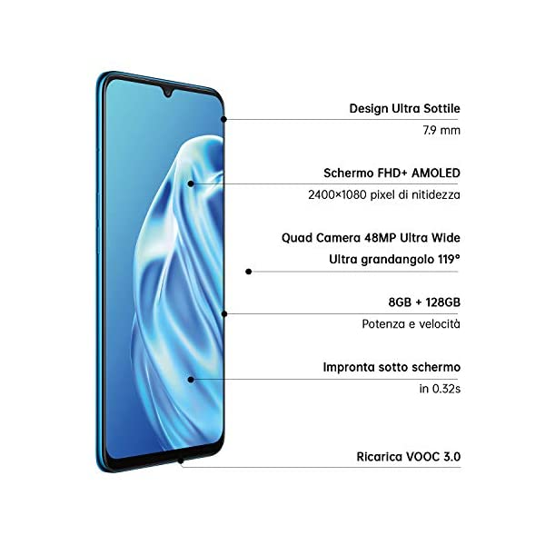 OPPO A91 Smartphone , Display 6.4'' AMOLED, 4, Fotocamere,128GB Espandibili, RAM 8GB, Batteria 4025mAh, Dual Sim, 2020… 2 spesavip