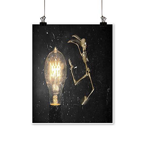 Modern Painting Horrifying Vintage Halloween Themed Skeleton Jumping Past Lightbulb Artwork for Home Decorations,28