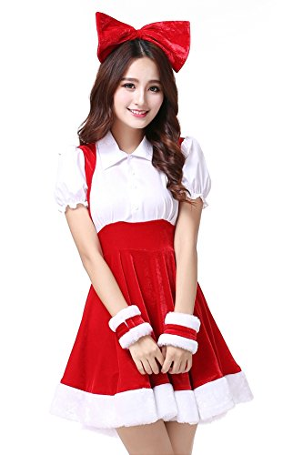 Mrs Costumes Santa Little (OVOV Women's Christmas Dress Santa Costume Cosplay Party Outfit with Bowknot)