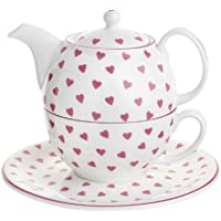 Nina Campbell Tea for One Set, Pink Hearts Design by Nina Campbell by Roy Kirkham