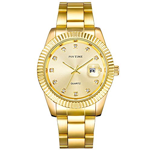 Fashion Men Classical Bussiness Wristwatch Golden-Tone Quartz Analog Stainless Steel Band Toothed Bezel Fashion Timepiece