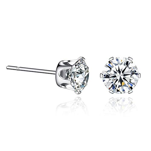 (Sterling Silver Swarovski Cubic Zirconia Stud Earrings Sensitive Ears 5mm…)