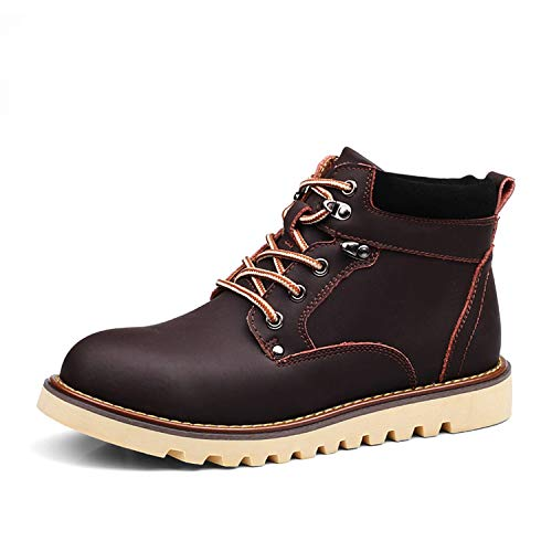 Genuine Leather Men Snow Boots Autumn Winter Outdoor Working Man Ankle Boot,Dark Brown,9.5