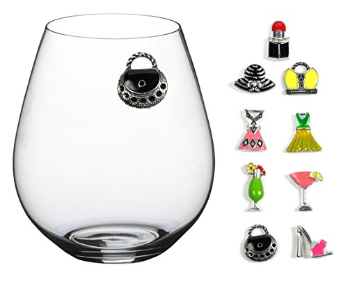 Girls Night Out Magnetic Wine Glass Charms, Hand Painted - Set of 9 Stylish Wine, Martini, Champagne and Cocktail Glass Markers. Works Great on Stemless Glassware! by Cork & Leaf