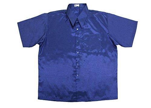 Lofbaz Men Casual Camp Work Button down Plain Short Sleeve shirts Design #2 Blue M (Clothes Thai Silk)