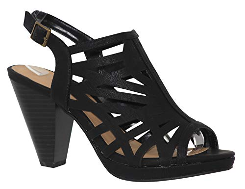 MVE Shoes Fashion Mid Heel Ankle Buckle Open Toe Strappy Sandal, SUNLUS Black NBPU - Womens Black Sandals Strappy