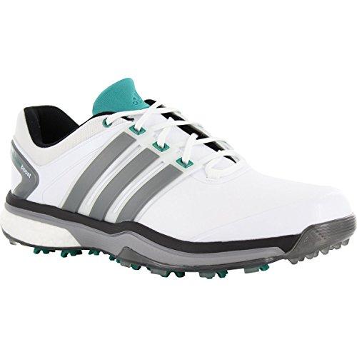 Men's Adipower Boost Golf Shoe, White/Dark Silver/Metallic/Power Green, 11 M US