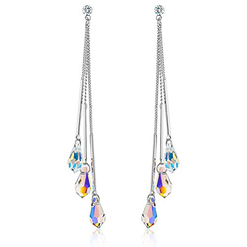 SBLING Platinum-Plated Color Change Multi-Teardrop Earrings Made with Aurora Borealis Swarovski Crystals (5.3 cttw)