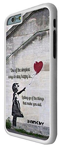 544 - Banksy Grafitti Art Balloon Girl Funky Quote Design iphone 6 Plus / iphone 6 Plus 5.5'' Coque Fashion Trend Case Coque Protection Cover plastique et métal - Blanc