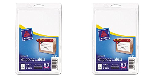 Avery Permanent Shipping Labels, 4 x 6 Inches, White, Pack of 20 (5292), 2 Packs (Barcode Avery Labels)