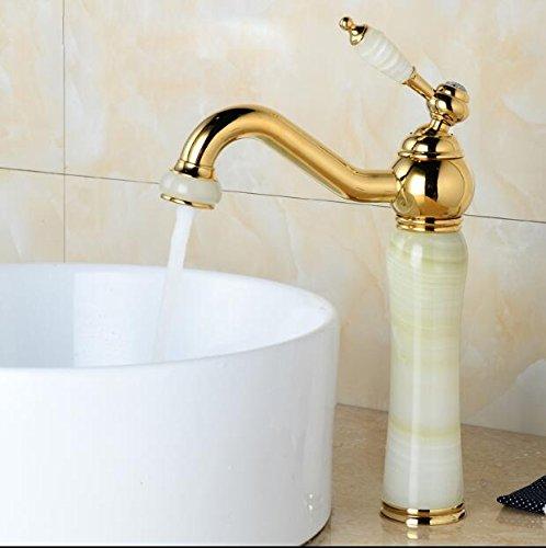 5151buyworld Top Qualität Wasserhahn New Jade und Messing Wasserhahn Gold Fertig Badezimmer Wasserhahn Luxus-Armatur, Einhandmischer Wasser tapfor Badezimmer Küche Home Gaden (begriffsklärung), Gold