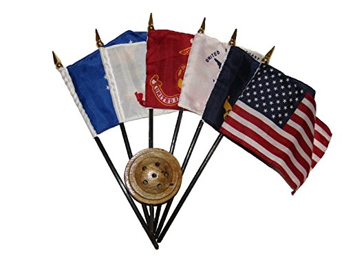 "USA Millitary 5 Branch 6 Flags 4""x6"" Desk Set Wooden Base w/"