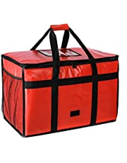 Insulated Pizza Carrier Bag for Food delivery -Foldable Heavy Duty Food Warmer Grocery Bag for Camping Catering Restaurants with Mesh Pockets