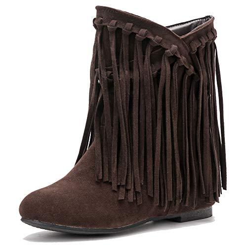 fereshte Women's Suede Tassels Fringe Hidden Wedge Heel Ankle Boots Slip-on Bootie Dark Brown US9