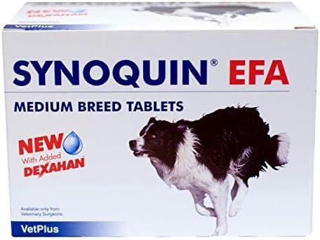 VetPlus Synoquin EFA Envase con 120 Comprimidos de Suplemento para Perros Razas Medianas