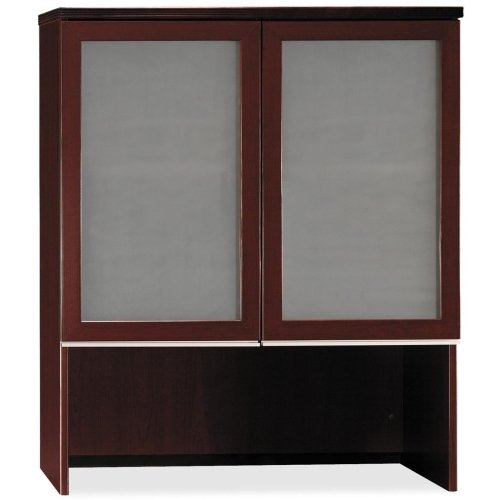- bbf Milano 2 Series Bookcase Hutch with Doors - 35.8quot; Width x 15.4quot; Depth x 43.1quot; Height - Harvest Cherry