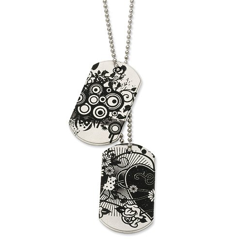 Stainless Steel Hearts in Flight Dog Tag Necklace ()