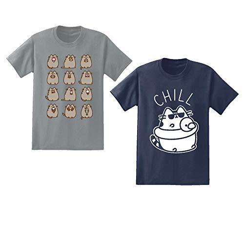 Pusheen Mens 2 Pack Shirts The Cat 2 Pack T-Shirts (Medium)