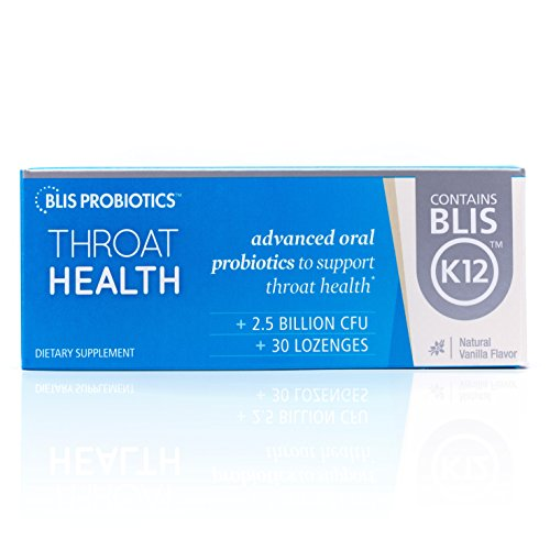 BLIS ThroatHealth Oral Probiotic, Most Potent BLIS K12 Formula Available, 2.5 Billion CFU, Throat Immunity Support for Adults and Kids, Sugar-Free Lozenges, 30 Day Supply