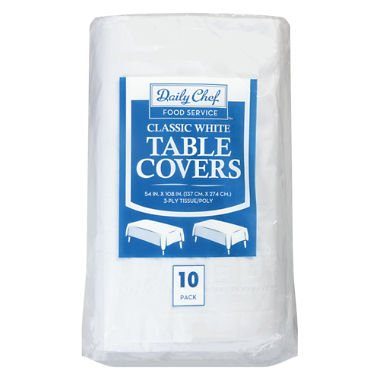 Daily Chef Disposable Table Cover, White, 1 pack of 10 cloths -