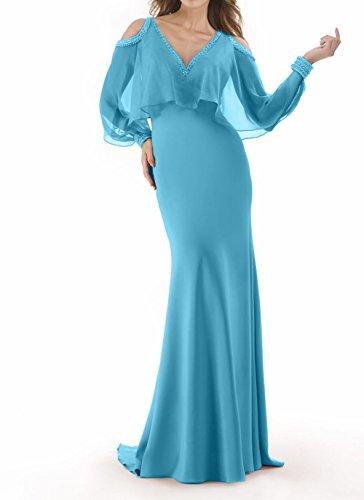 Promkleider etuikleider Elegant Charmant Blau Hell Meerjungfrau Chiffon Abschlussballkleider Damen Brautmutterkleider wpBBPXq