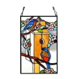 Stained Glass Lighting Birds Window Panel 19 X 12 Inches
