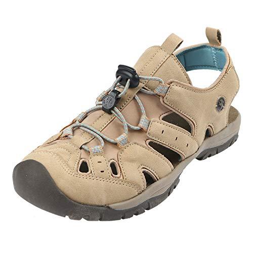 Northside Women's Burke II Athletic Sandal, Tan/Blue, 8 M US (Sandal Fisherman Closed Toe)