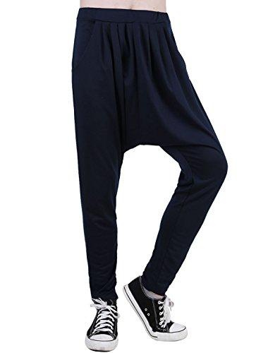 uxcell Men Slant Pockets Elastic Waist Baggy Harem Pants Dark Blue 28/30