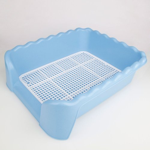Dog Training Tray Potty Portable Pad Holder Pet Potty 19.88 X 17.32 X 5.91'' Size L with Vertical Pillar Blue & White