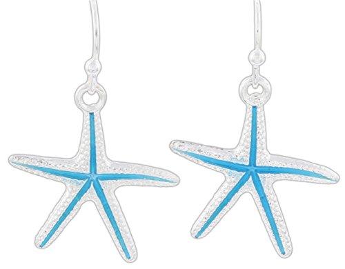 Periwinkle Aqua Blue Silver-Tone Starfish Dangle Earrings