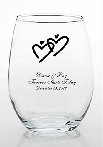 PERSONALIZED STEMLESS GLASSES Heart Design