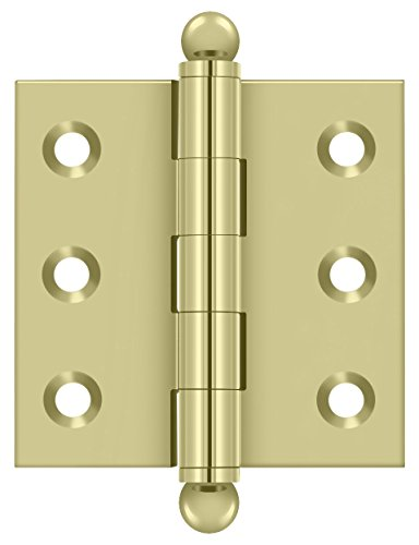 Deltana CH2020U3-UNL Solid Brass 2-Inch x 2-Inch Cabinet Hinge with Ball Tips
