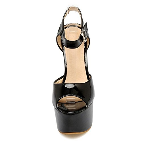 SJJH Stiletto Heels with Peep Toe and Large Size Women Snadals Sexy and Elegant Women Dressy Sandals with High Heel Black B9v5Id