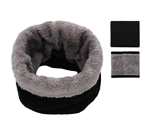 Epeius Kids Girls/Boys Winter Knitted Infinity Scarf Children Warm Soft Polar Fleece Neck Warmer,Black,One Size