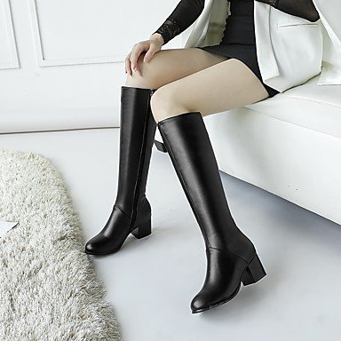 Women's Shoes PU Fall Winter Comfort Boots Chunky Heel Round Toe Zipper For Outdoor Office & Career Beige Black , beige , us9.5-10 / eu41 / uk7.5-8 / cn42
