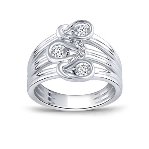 - 1/6 cttw Love Knot Diamond Promise Ring in Sterling Silver(IJ/I2-I3) US4-US10