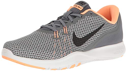 NIKE Women's Flex 7 Cross Training Shoe, Cool Grey/Black/Sunset Glow, 7.5 B(M) US