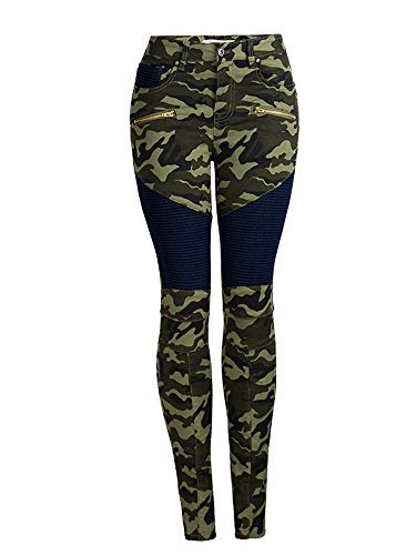 (AUSZOSLT Womens Ripped Moto Biker Stretch Skinny Jeans Zip Rider Denim Pants Camo L)