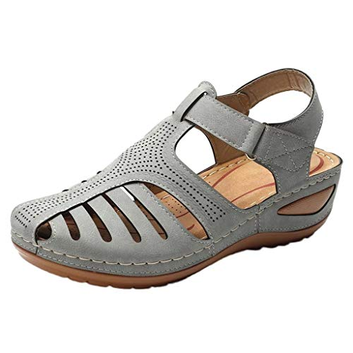 Women's Retro Wedges Comfortable Ankle Hollow Round Toe Sandals Soft Sole Shoes Gray