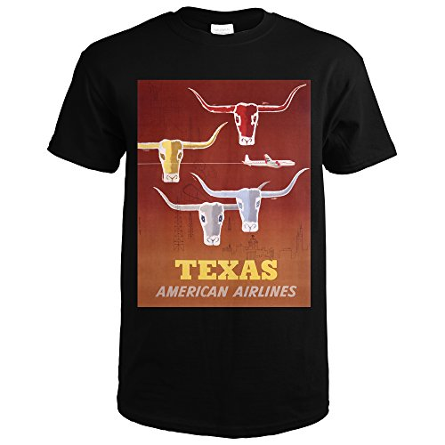 American Airlines   Texas Vintage Poster  Artist  Glanzman Parker  Usa  Black T Shirt Xx Large