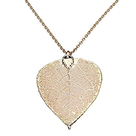 Rose Gold-Plated Aspen Leaf Pendant, Rose Goldtone Cable Chain Necklace, 20